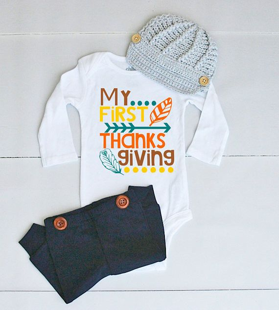 My 1st Thanksgiving Outfit - Thanksgiving Outfit for Baby Boy - Thanksgiving Onesie® for Baby Boy - Baby's First Thanksgiving Outfit