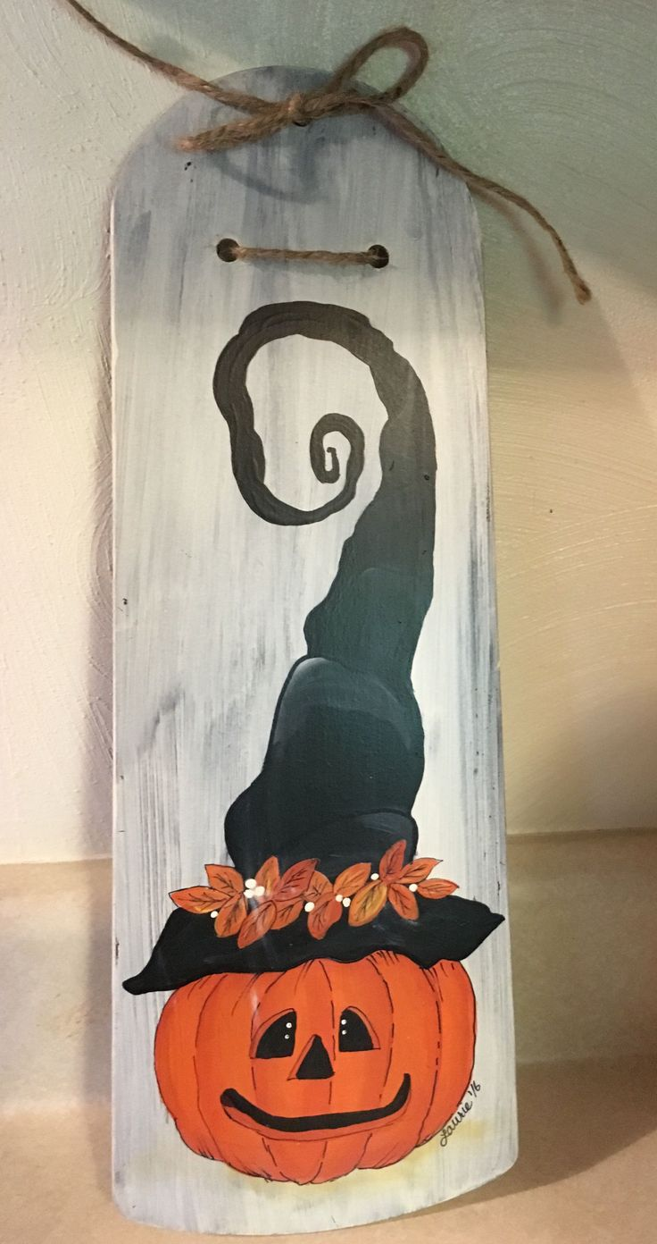 Jack O Lantern with Funky Witch Hat handpainted on a ceiling fan blade. $8.99