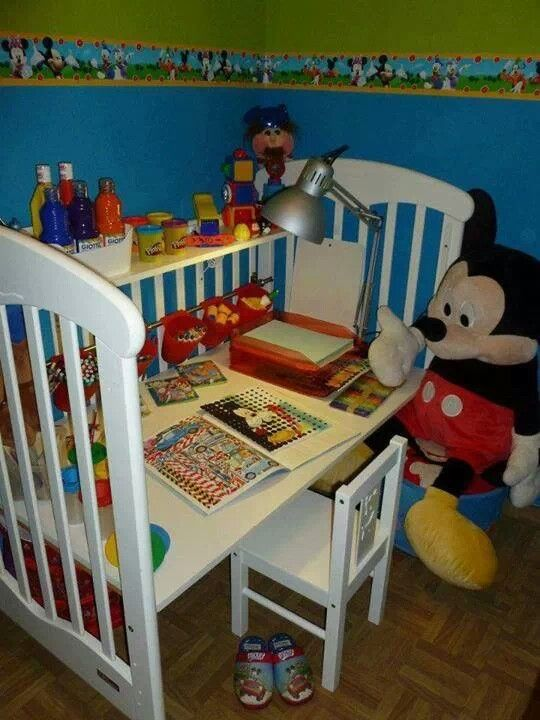 Crib converted in funtional desk