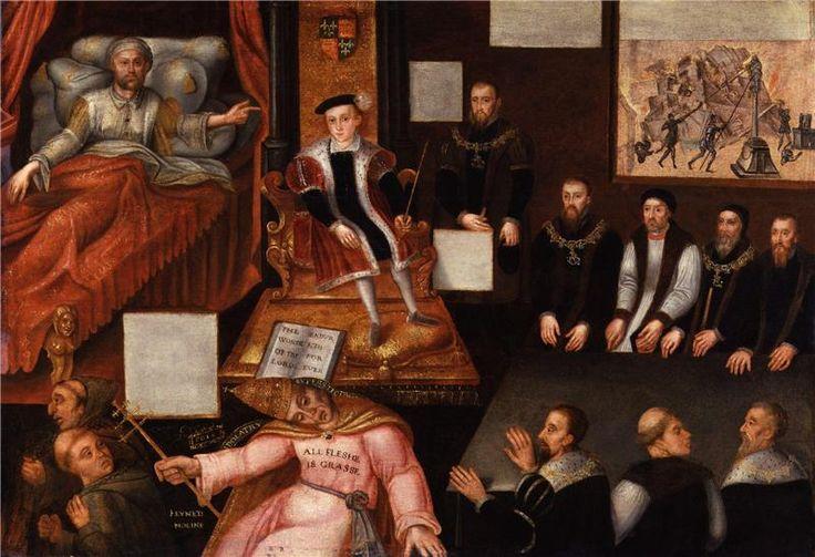 ЧАСТЬ 1. Династия Тюдоров.1547-1558. ЭДУАРД VI (Edward VI),король Англии и Ирландии.Эдуард,единств.законный сын Генриха VIII,род.во дворце Хэмптон-Корт близ Лондона 12.10.1537.Эдуарду было 10 лет,когда умер его отец Генрих VIII.Согл. воле отца молодого короля должен был опекать совет из 16 регентов,однако фактич.власть захватил в свои руки герцог Сомерсет.Эдуард был болезн.ребенком (вероятно это был врожд.сифилис или туберкулез).