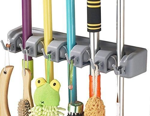 iHomeSet Mop and Broom Holder - 5 Position and 6 Hooks Wall Mounted Organizer / Garden Tool Storage / Great Use For Home, Closet, Garage and Shed / High Quality Tool Rack For Mops, Brooms or Sports Equipment / Holds Up To 11 tools / Space Saving
