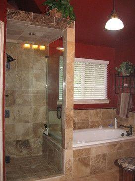 bathroom designs, no door shower   Walk in shower with frameless shower door, and travertine tile