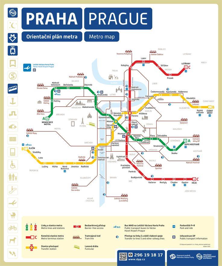 Mapa del metro de Praga, Republica ChecaSi vienes a hacer turismo, la línea A o línea verde del metro de Praga es la que sirve a las principales zonas turísticas, como el Barrio Pequeño (Malostranská), el Barrio Antiguo (Staroměstská), el Barrio Nuevo, zonas comerciales, etc.                                                                                                                                                                                 More