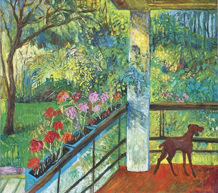 Jan Szancenbach - Balkon z pelargoniami,1995