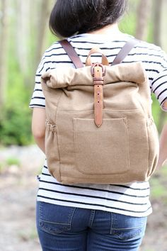 DIY: roll up back pack from an old blazer