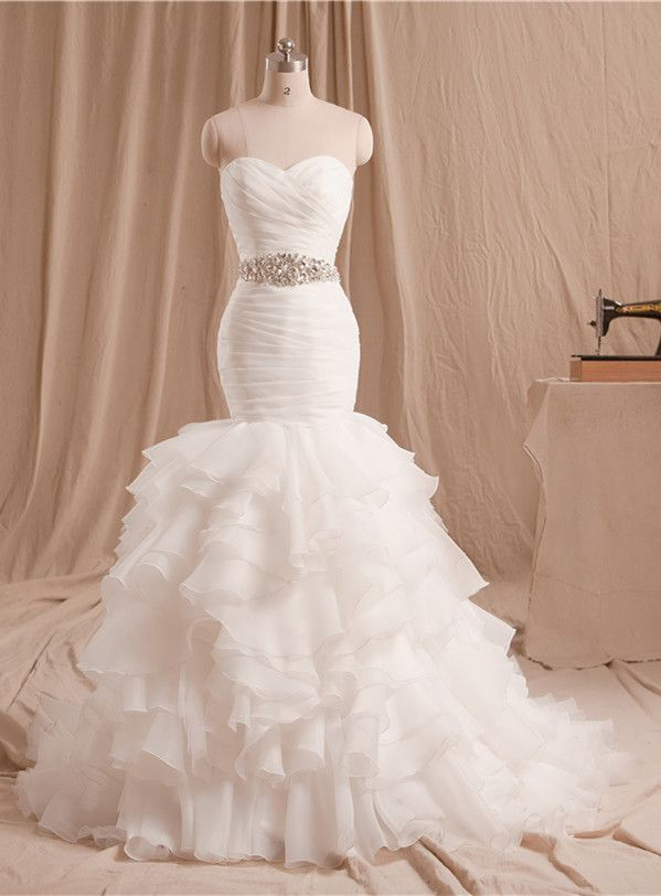 Cheap dresses for big ladies, Buy Quality dress african directly from China skirt head Suppliers:    Real Bride Dresses White Sweetheart Satin Gown Chapel Train Lace-up Back Mermaid Wedding Dress With Beading StonesUSD