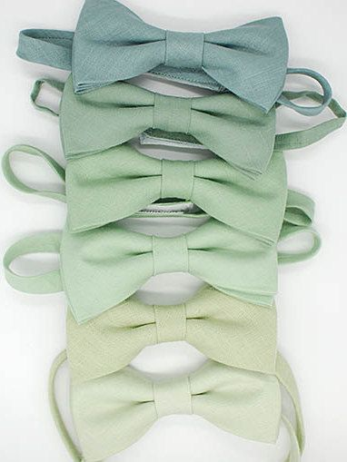 No#22,23,85,158,Linen green shades bowties,grayed jade,pistachio,hemlock,dusty shale,wedding ties,groom,groomsmen,men,green wedding set