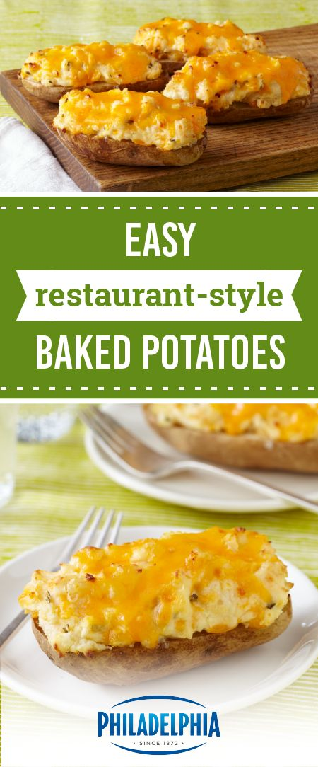 Easy Restaurant-Style Baked Potatoes – This recipe for easy, cheesy, potatoes are sure to get great reviews on your dinner table. And you're sure to enjoy that they're ready in just 25 minutes.