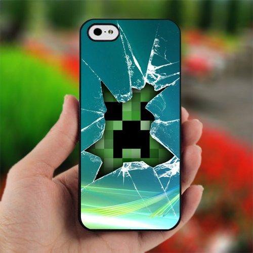 Minecraft Creeper Glass Broken - Design for iPhone 5 Black Case ...