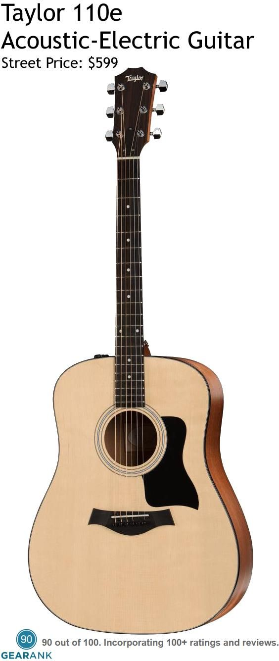 Taylor 110e Acoustic-Electric Guitar. It has a solid Sitka Spruce top with layered Sapele back and sides and Taylor Expression System 2 electronics. For a detailed Guide to Acoustic Guitars see https://www.gearank.com/guides/acoustic-guitars