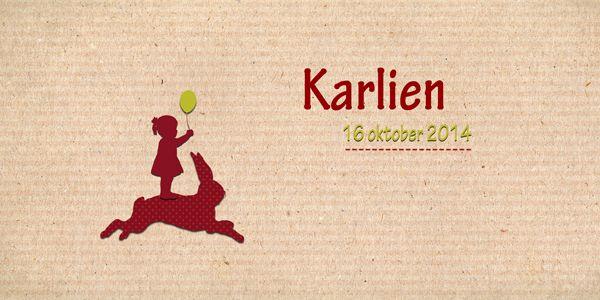 Geboortekaartje meisje - Karlien - meisje op konijntje - Pimpelpluis - https://www.facebook.com/pages/Pimpelpluis/188675421305550?ref=hl (# simpel - eenvoudig - retro - naam - dieren - konijn - konijntje - ballon - silhouet - kindje - origineel)