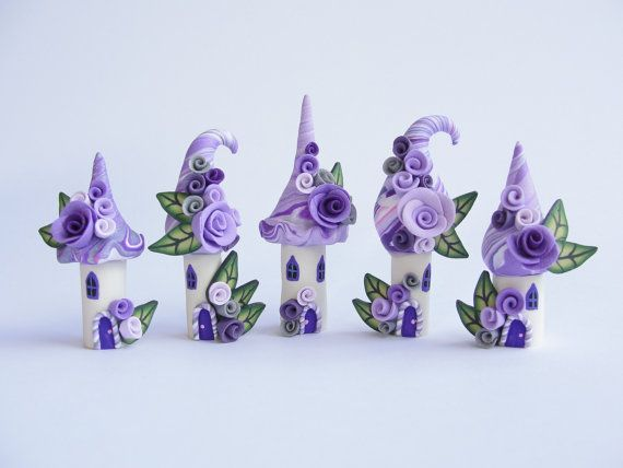 Fairy house polymer clay village miniature in lilac and purple colours handmade by fizzyClaret