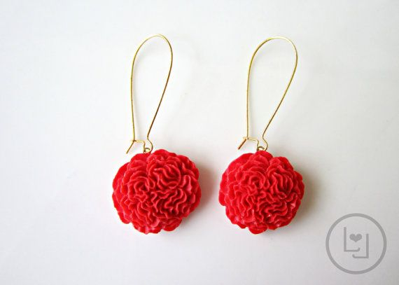 Candy Apple Red Pom Pom Earrings by LunaLitka on Etsy