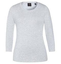 David Lawrence: Kasey crop sleeve cotton modal tee (grey marle)
