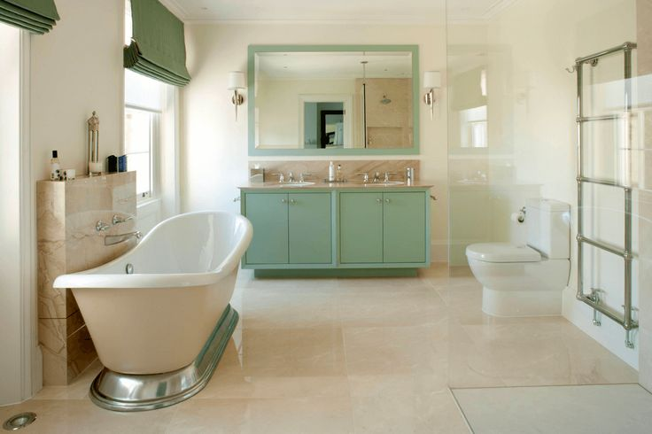 Traditional Seafoam Bathroom Colorful bases often work best on larger vanities that offer cabinet space or shelving.