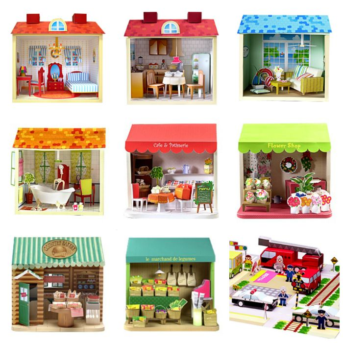 9 miniature dollhouses or dollhouse rooms to print - link beneath each image leads to quality full-colour printables provided by a museum