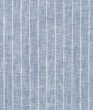 Camden's Curtains?  Denim Blue Pinstripe Chambray Linen Fabric - $25.2 | onlinefabricstore.net