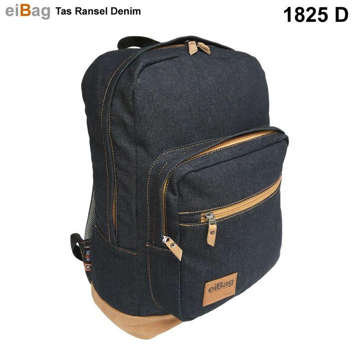 Jual tas ransel denim murah produk Bandung menggunakan bahan dry denim biru tua dan variasi suede dimensi : 45 x 31 x 20 cm, gratis cover bag, kode 1825 D.