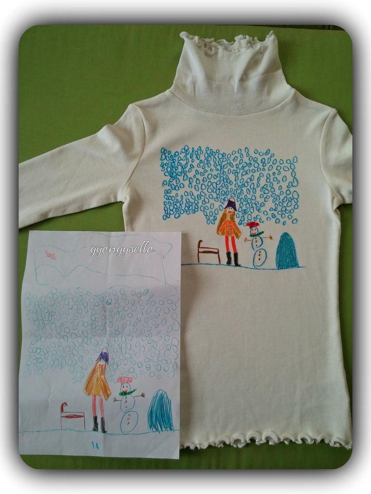 7 éves kislány rajza alapján készült, kézzel festett póló.