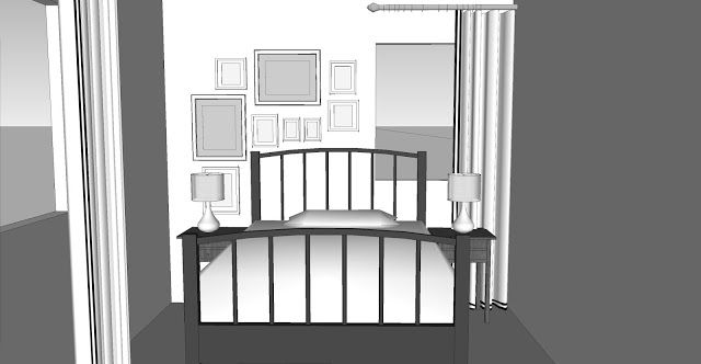 Design Plan | asymmetrical gallery wall for tiny bedroom...flip it and that's our room!