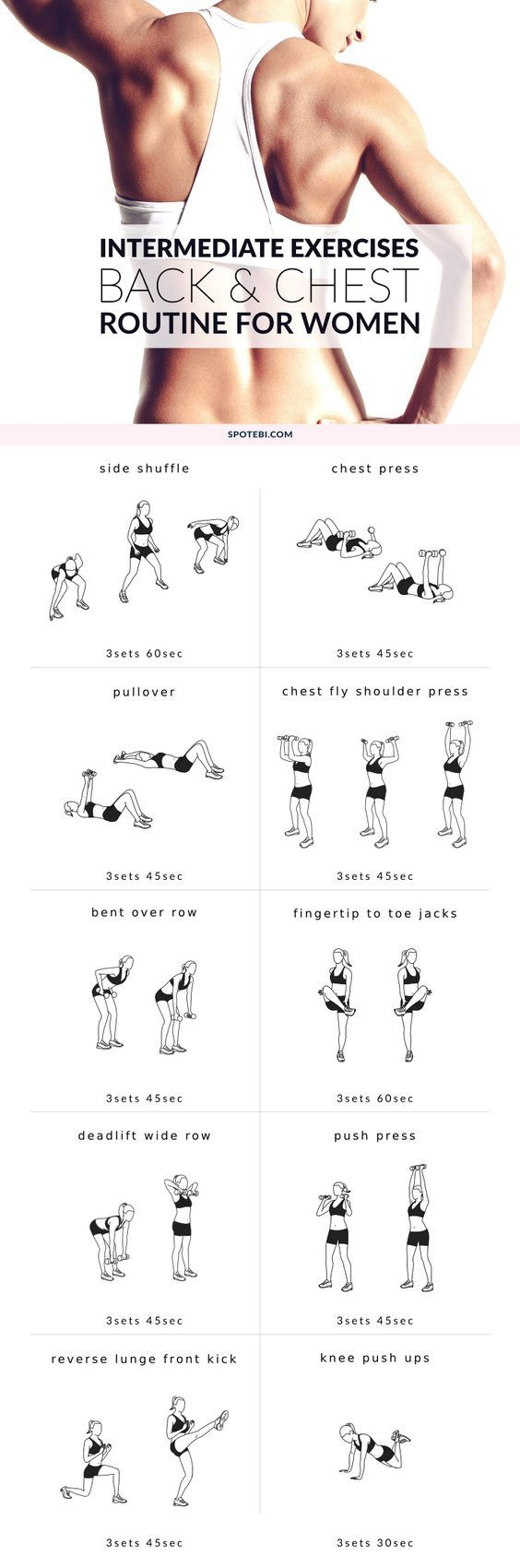 Improve your posture and increase your strength at home with this upper body intermediate workout. A back and chest routine for women that will help you tone your muscles and perk up your breasts! http://www.spotebi.com/workout-routines/upper-body-interme