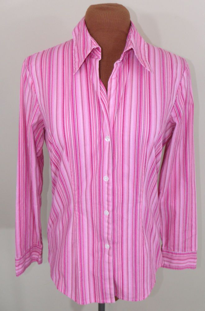 New York & Company Size S Pink Striped Long Sleeve Button Down Blouse Shirt EUC #NewYorkCompany #ButtonDownShirt #Casual