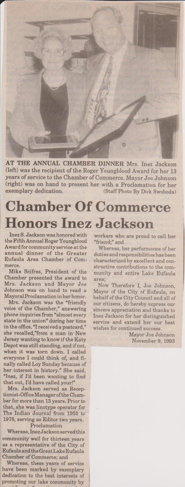 Joe Johnson | Eufaula, Oklahoma: Mayor Joe Johnson presents Mrs. Inez Jackson with a Proclamation for her exemplary dedication