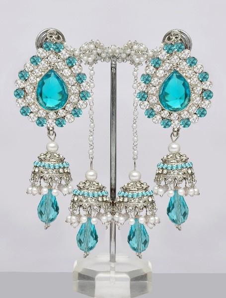 Shining Kashmiri Jhumka Earrings Sarees Cool Colors Jewelry Indian