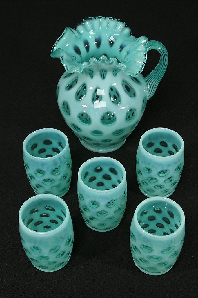 Fenton Blue Opalescent Glass Coin Dot Pitcher 5 Tumblers Water Set❤❤❤