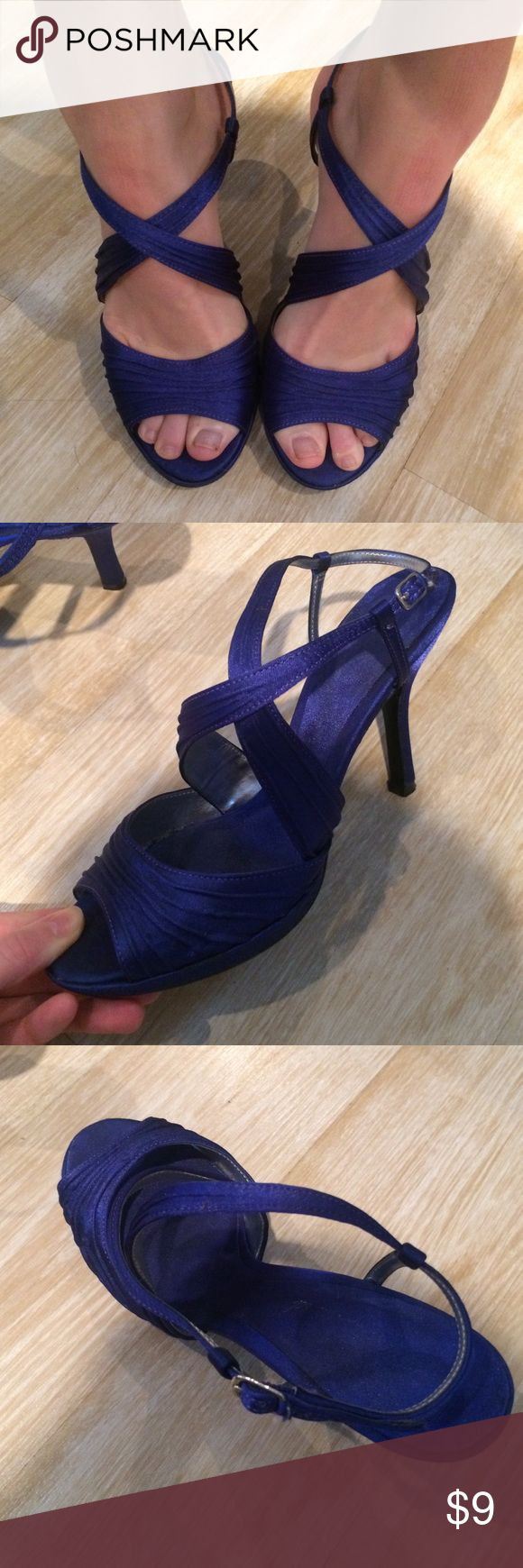 """Royal Blue Strappy Heels Royal blue strappy heels. Beautiful crossover strapping. Size 7.5. Adjustable ankle straps. Heels are 3"""" with a 0.5"""" platform. Worn only once, so good condition. These have a satin sheen to them. Shoes Heels"""