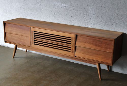 Long Television Console in Solid Teak | Second Charm Furniture