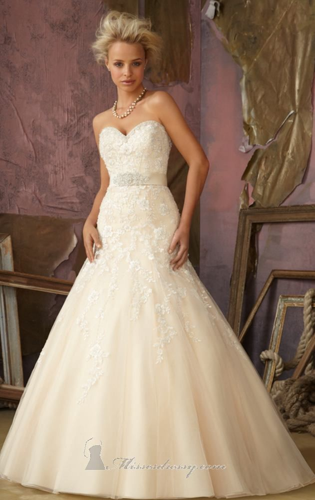Bridal Gown From Mori Lee By Madeline Gardner Style 1861 Crystal Beaded Embroidery On Net Removable Belt With Beading