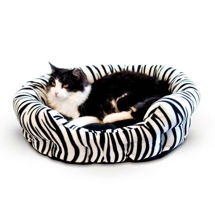 """K&H Pet Products Self Warming Nuzzle Nest Pet Bed Zebra 19"""" x 19"""" x 6"""""""