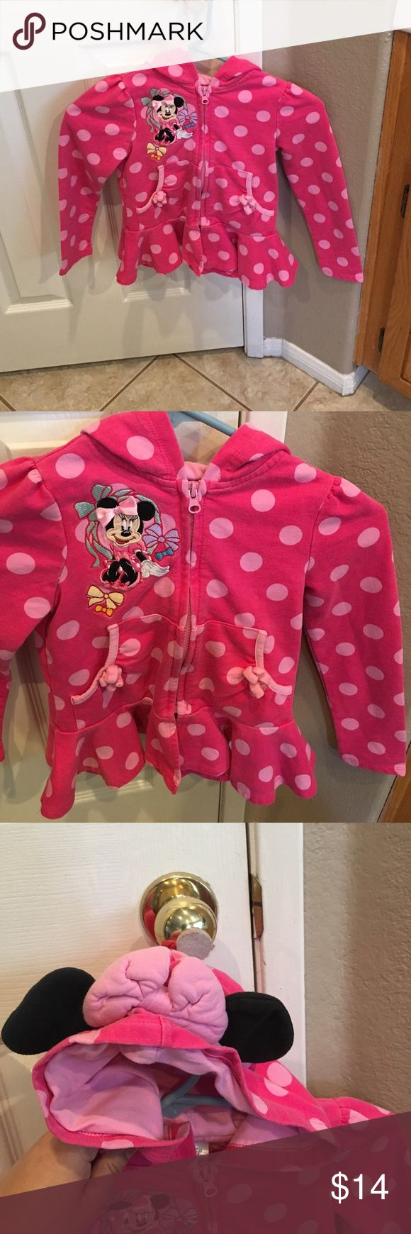 Minnie Mouse Jacket Polka dot zip up with Minnie Mouse graphics. The hood had ears and a bow attached. Great shape Disney Shirts & Tops Sweatshirts & Hoodies