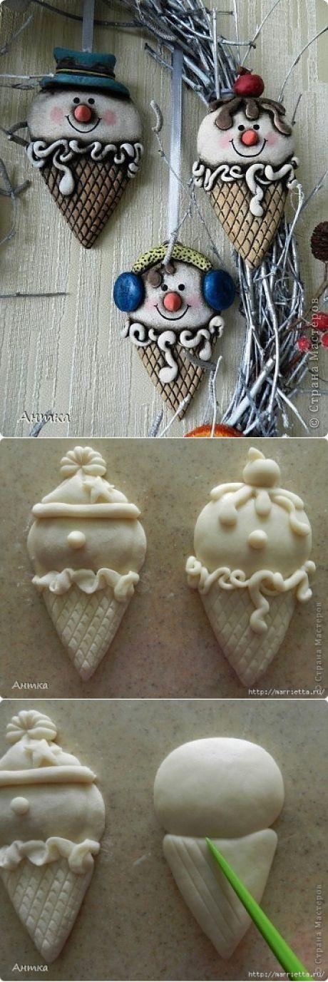 Венок из березовых веток со снеговичками из соленого теста