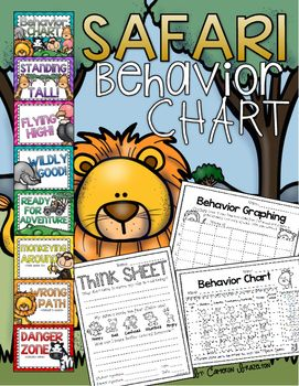 Cute Safari/Jungle themed Behavior Clip Chart for classroom management!