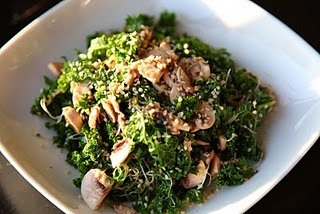 Raw Therapy Kale, Alfalfa Sprout and Mushroom Salad  7 Kale Leaves  1 Cup Alfalfa Sprouts  7 Button Mushrooms  1 Tbsp Raw Honey  2 Tbsp Extra Virgin Olive Oil  1 Tsp Apple Cider Vinegar  Sea Salt  1 Tsp Hemp Seeds          Remove kale stems and cut or tear kale leaves into small pieces. Cut mushrooms in rounds and then in half. Add 1 Cup of alfalfa sprouts. Toss with dressing, which is a mixture of olive oil, AC vinegar, raw honey, sea salt. Toss and sprinkle with hemp seeds.