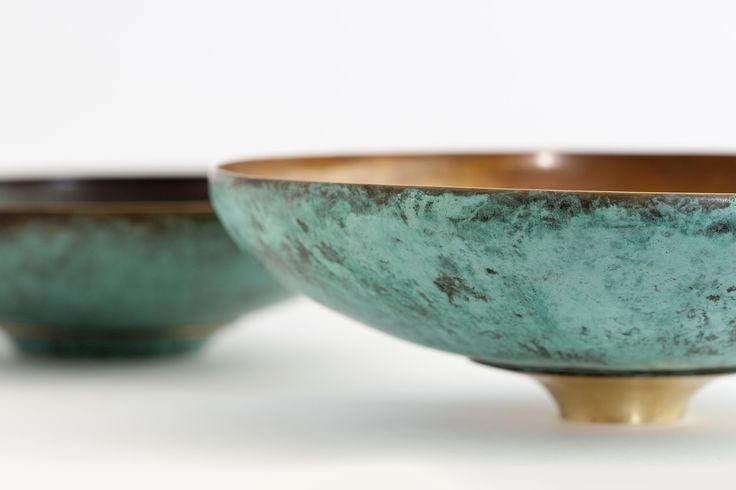 Hand beaten brass bowls. Made by Geoff Mitchell. Australia.