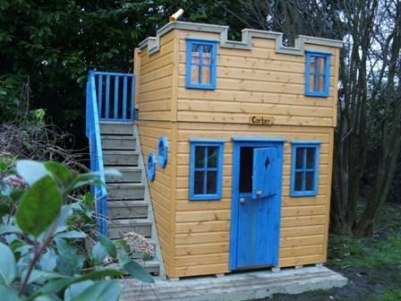Castle playhouse with playarea