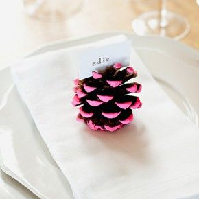 DIY :: Neon Pine Cone Placecard Holder | Camille Styles