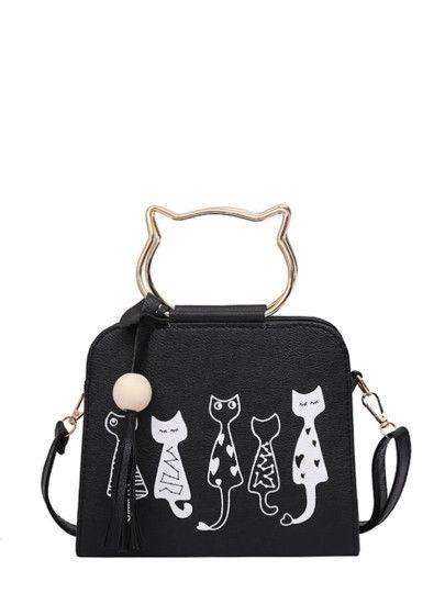 f2ef337bcd Cartoon Print PU Shoulder Bag With Cat Ear Handle | Bags | Bags, Cat ...