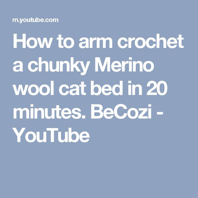 How to arm crochet a chunky Merino wool cat bed in 20 minutes. BeCozi - YouTube