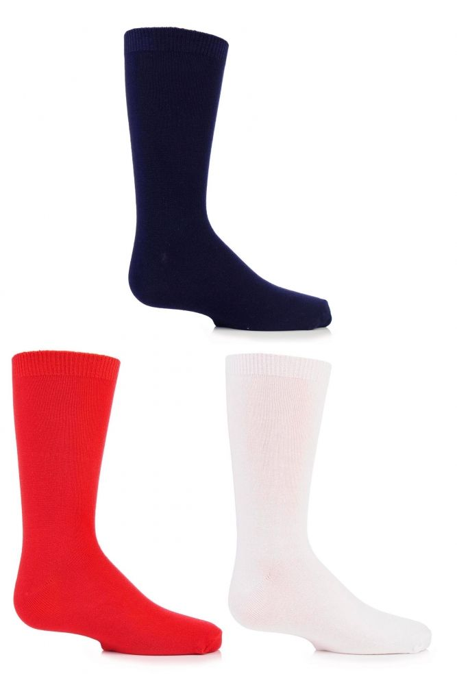 Boys and Girls 3 Pair SockShop Plain Bamboo Socks with Comfort Cuff and Handlinked Toes