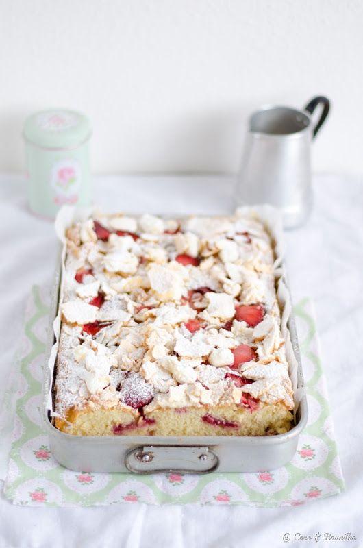 strawberry cake with meringue / eton mess cake.