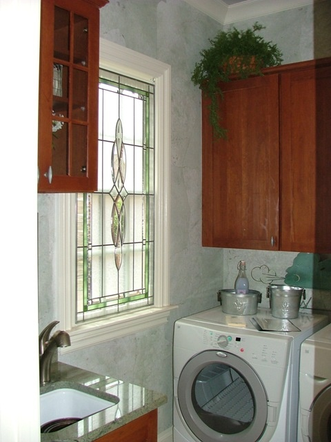 torn wallpaper technique Laundry Room