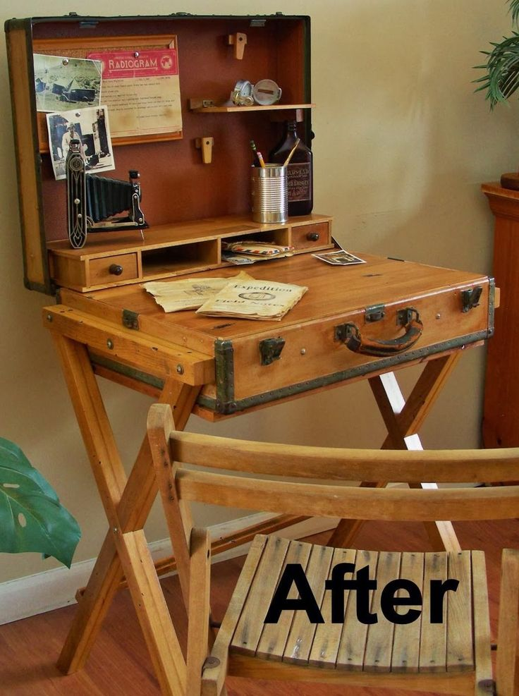 Destinations Vintage... Upcycled & Repurposed Stuff: Extreme Upcycle: The Suitcase Desk