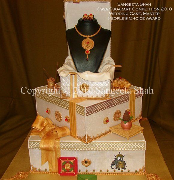 Indian Theme Wedding Cake Fondant cake with Indian wedding ceremony elements in gum paste, pastillage & fondant. Recreated my daughter's jewellery in gum paste and sugar The jewels were made from sugar. This Cake tells a story of an Indian wedding starting from the bottom tier.