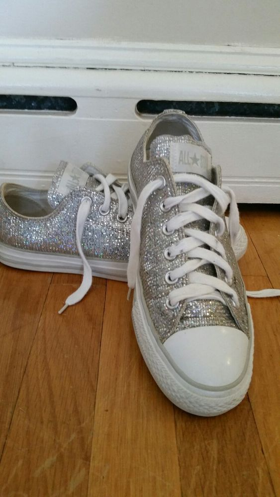935fdb100f6c28 Womens size 9 Converse All Star Silver Glitter Sparkle shoe sneaker   fashion  clothing  shoes  accessories  womensshoes  athleticshoes  ad  (ebay link)