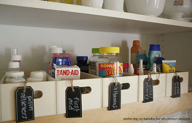 How to Organized your Medicine Cabinet ~Uncommon Designs  painkillers/first aid/make-up/ferret