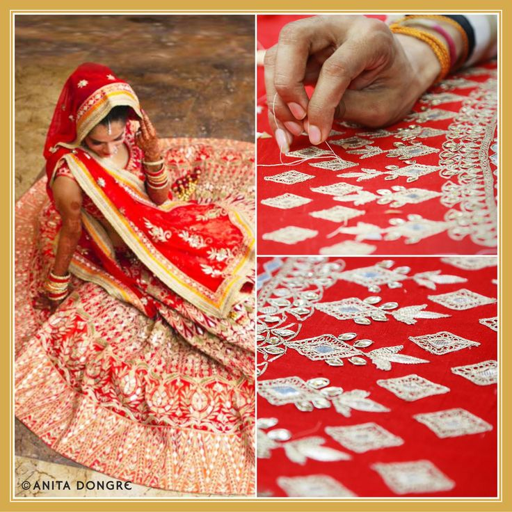 The bride, Sakshi Jain looks gorgeous in a red gotapatti lehenga. Beautiful craftsmanship, fine silhouettes and intricate details are always on our mind when we handcraft an Anita Dongre lehenga, just for you.